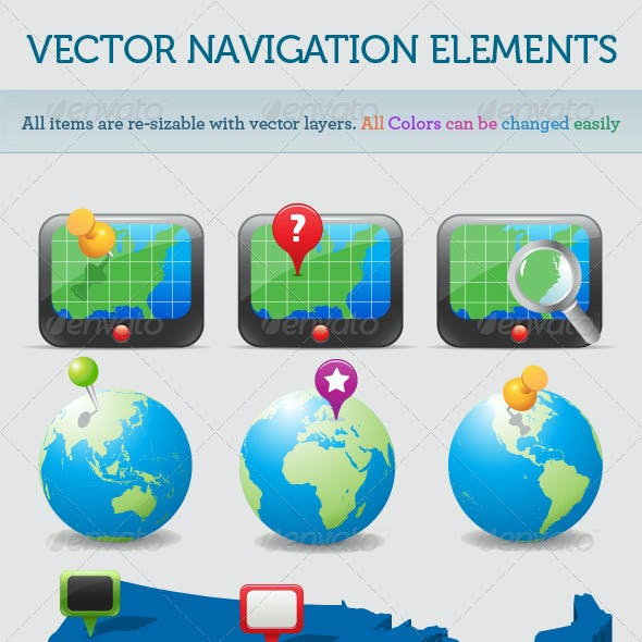 Vector Navigation Icons and Maps