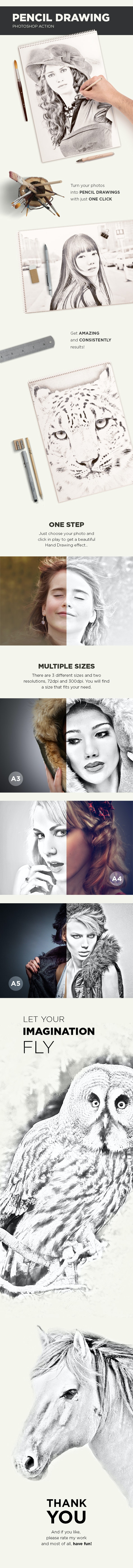 Pencil Drawing Photoshop Action - Photo Effects Actions