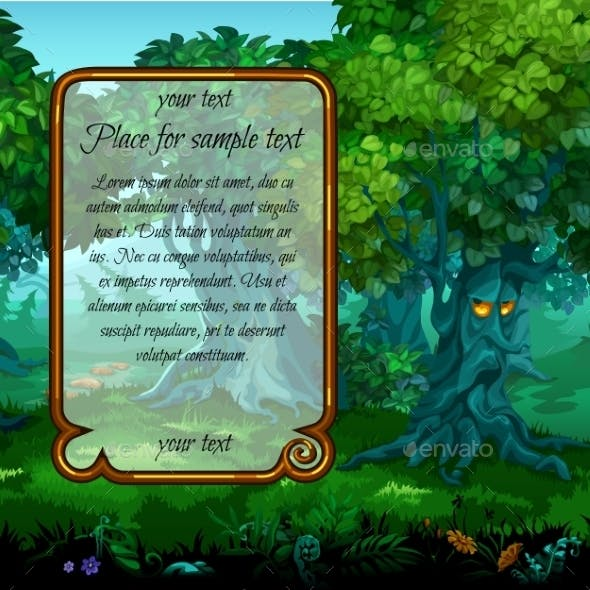 Mystical Nature And Frame For Text On The Left
