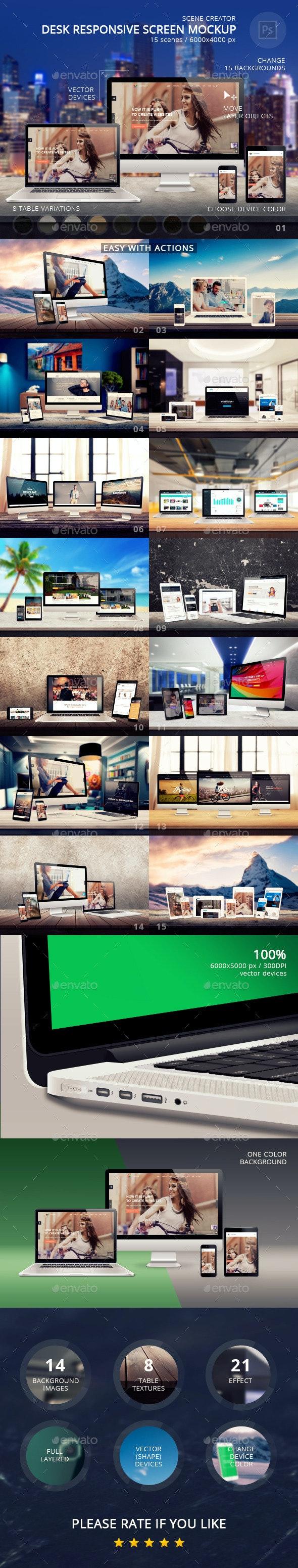 Desk Responsive Screen Mockup - Multiple Displays