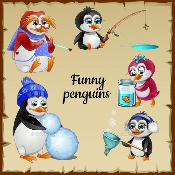 Set Of Five Funny Penguins With His Hobby