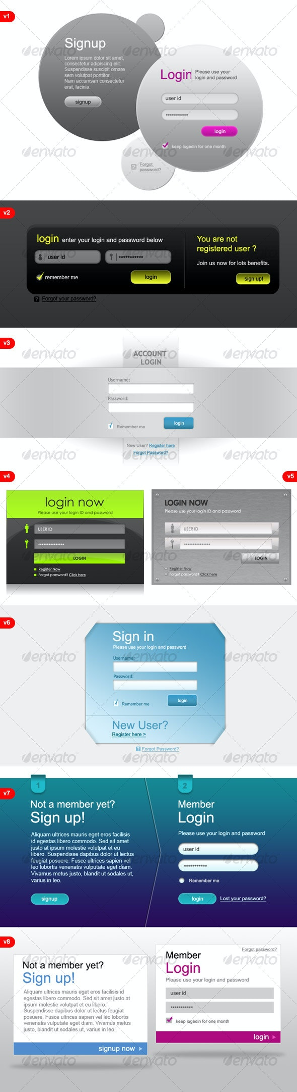 8 Modern & Web 2.0 Login/Signup Panels - Forms Web Elements