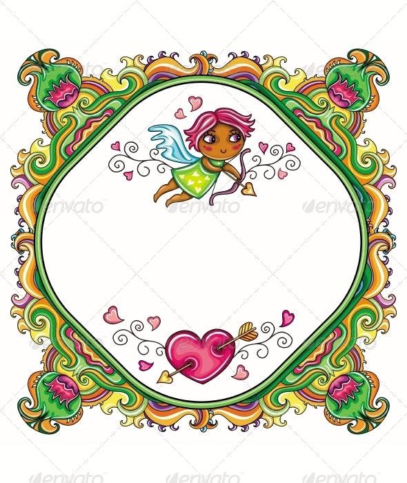 Valentine's Day cartoon floral frame - Valentines Seasons/Holidays