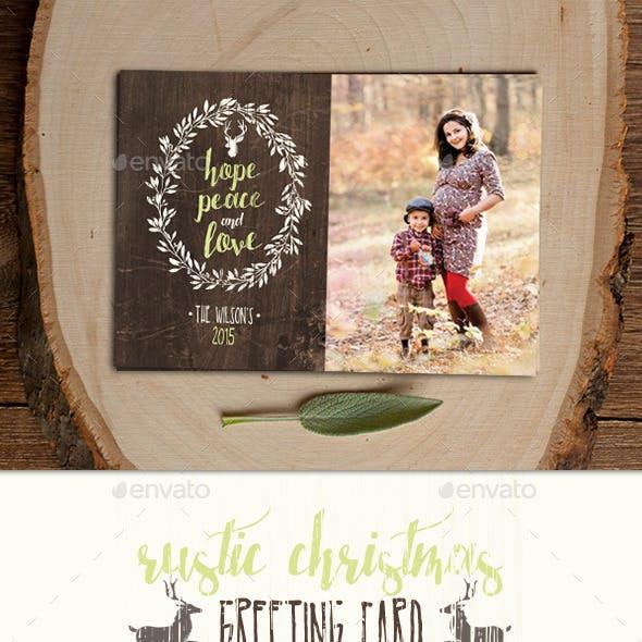 Christmas Photo Card - Rustic Wreath