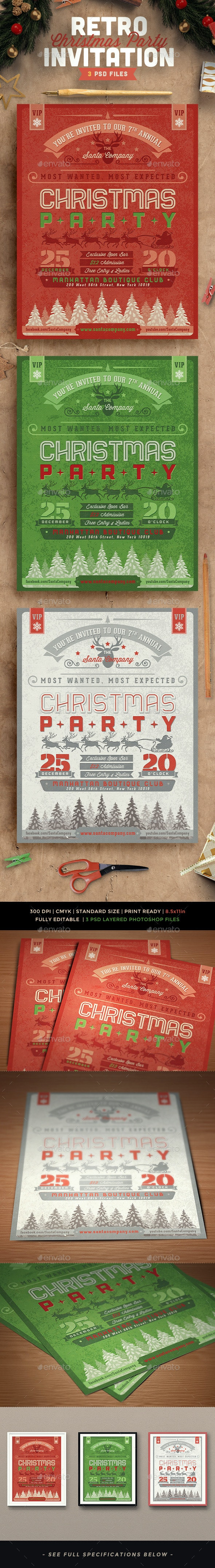 Retro Christmas Party Invitation - Invitations Cards & Invites