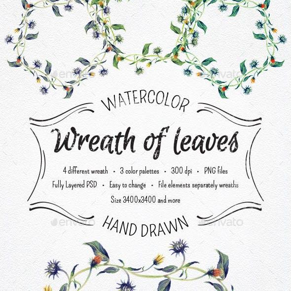 Watercolor Wreaths of Leaves