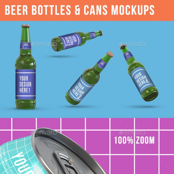 Beer Bottles & Can Product Mockups