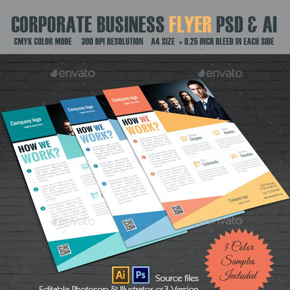 Corporate Business Flyer PSD & Illustrator Version