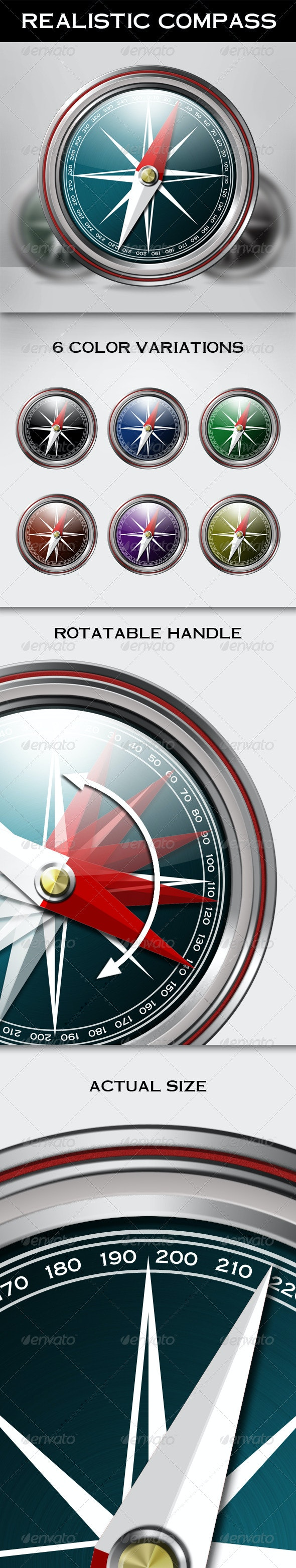 Metallic Compass with Rotatable Handle - Miscellaneous Product Mock-Ups