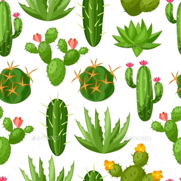Cactuses And Plants Abstract Natural Seamless