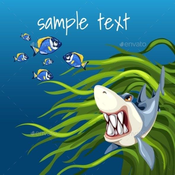Angry Shark Among Algae And a Set Of Small Fish