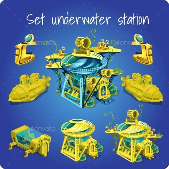 Set Station Underwater, Submarine, Motorcycle