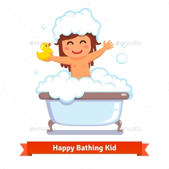 Baby Girl Taking Bath With Duck Toy And Bubbles