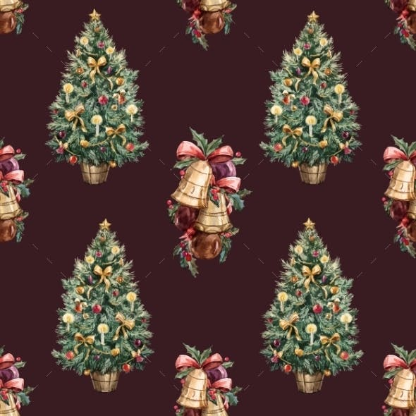 Watercolor Christmas Tree Pattern