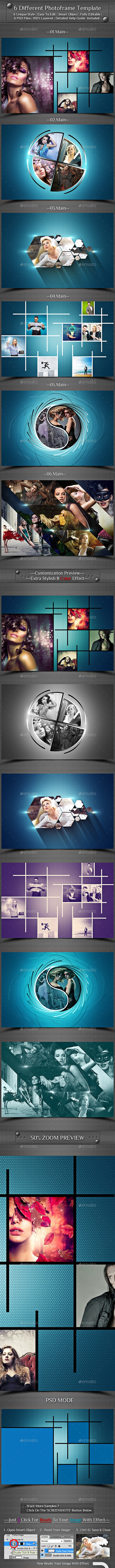 6 Different Photo Frame Template - Photo Templates Graphics