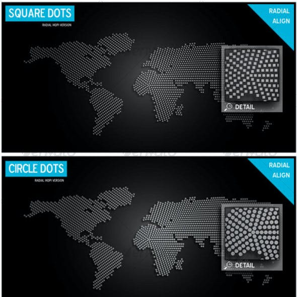 World Map Design Super Pack - Circles, Squares n+