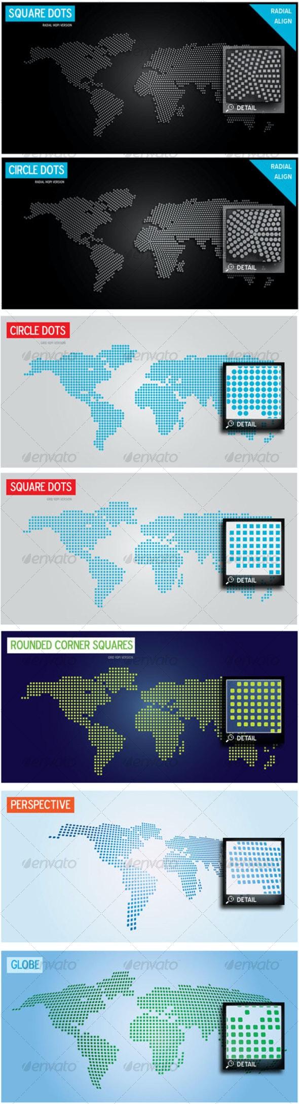 World Map Design Super Pack - Circles, Squares n+ - Decorative Vectors