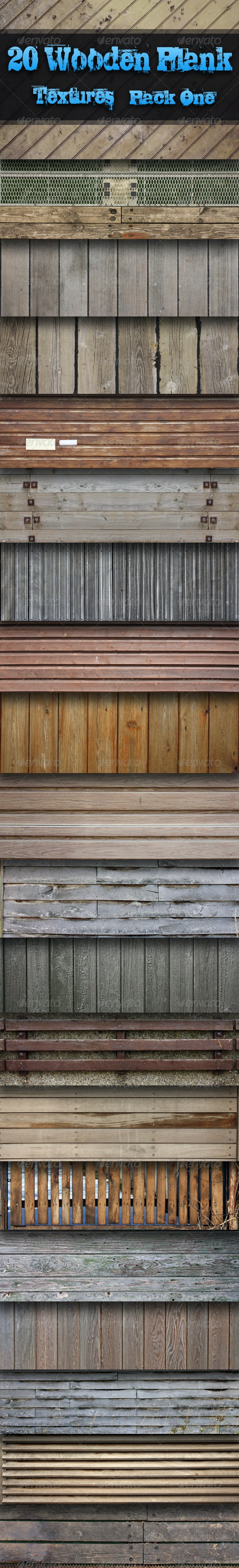 20 Wooden Plank Textures - Pack One  - Wood Textures