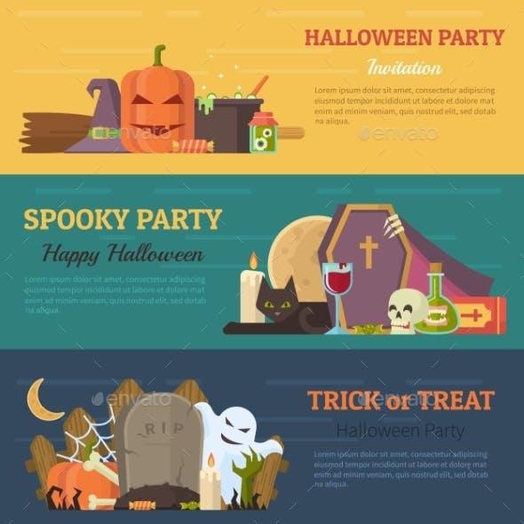 Set Of Halloween Banner, Flyer Or Invitation.