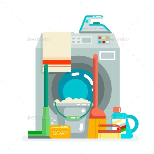 Washing Cleaning Concept Supplies Icons  Flat