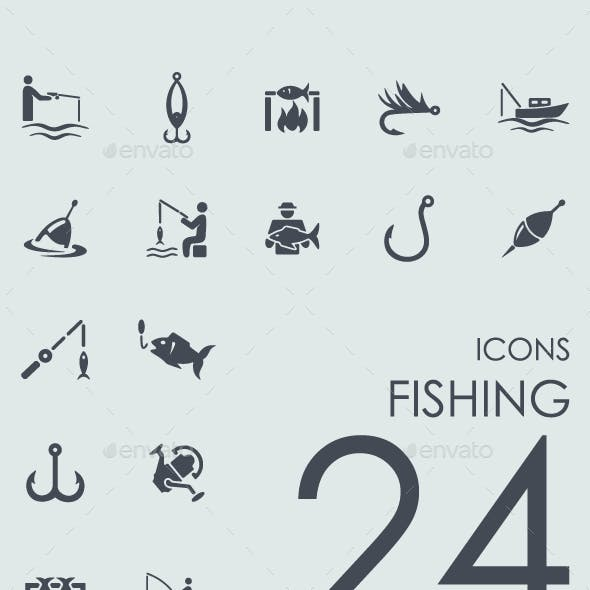 Set of 24 Fishing icons.