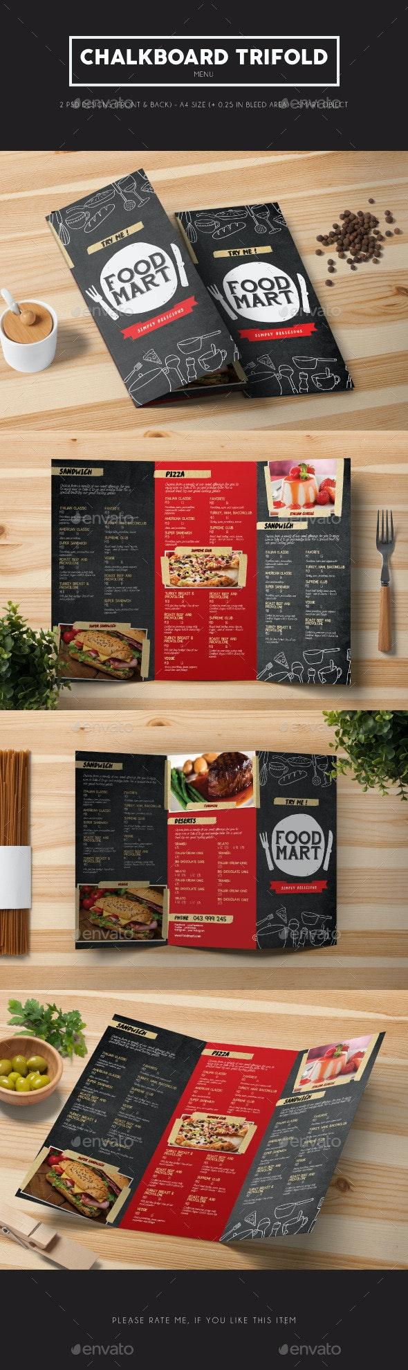 Chalkboard Trifold Menu - Food Menus Print Templates