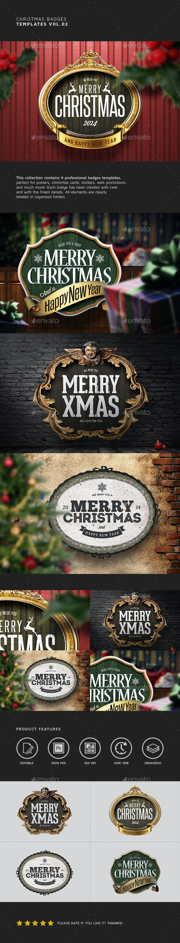 Christmas Badges Vol.02 - Badges & Stickers Web Elements