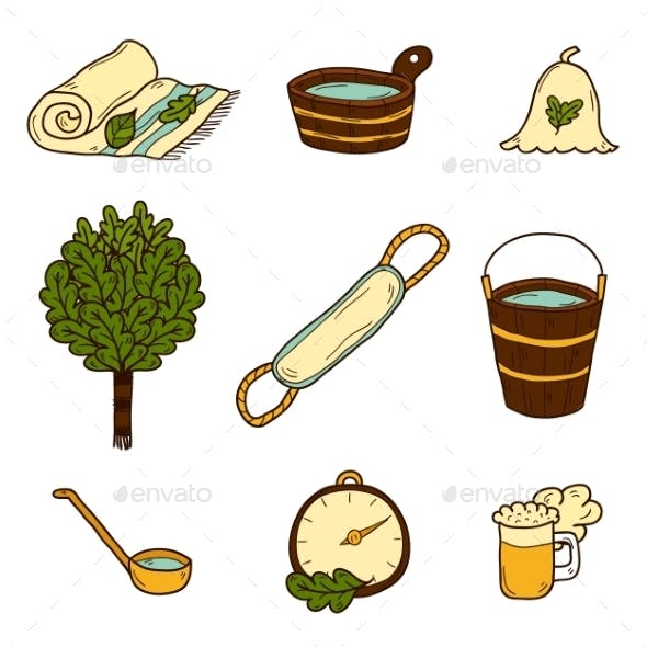 Set Of Hand Drawn Sauna Icons
