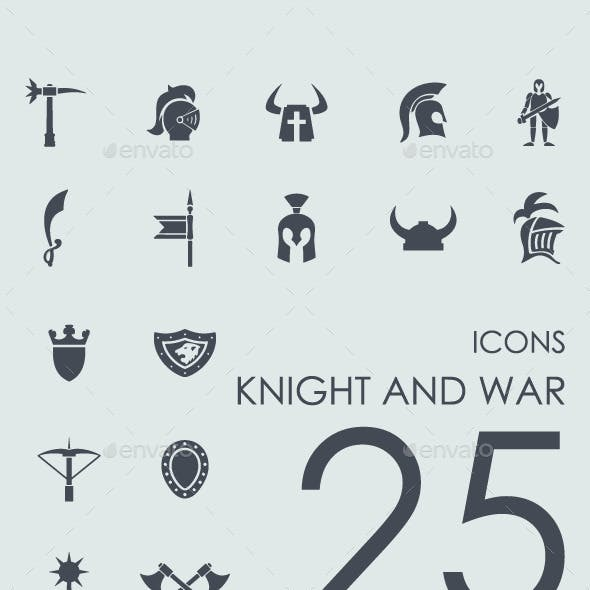 Set of 25 Knight and War icons.