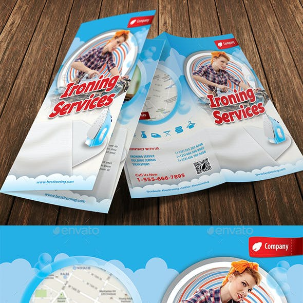 Ironing and Laundry Services Offer Bifold Brochure