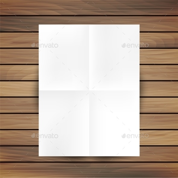 White Folded Paper Mockup Card Isolated On Wood - Borders Decorative