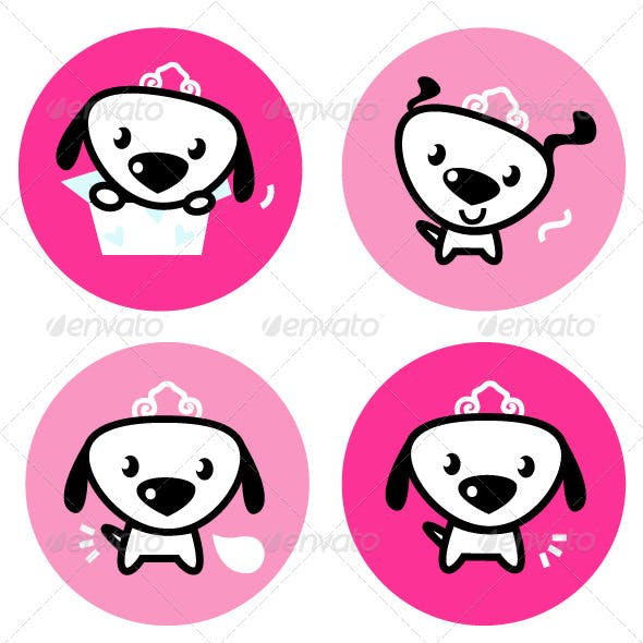 Cute female dog with crown pink icons or buttons