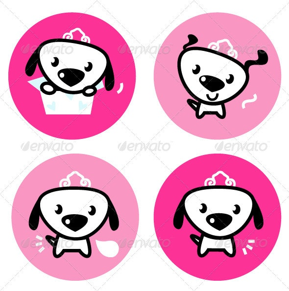 Cute female dog with crown pink icons or buttons - Animals Characters