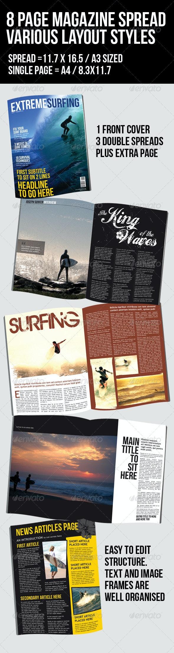 Surfing Magazine - 8 page - 4 layouts - Magazines Print Templates