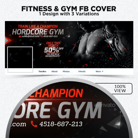Fitness and Gym Facebook Covers - 3 Variations