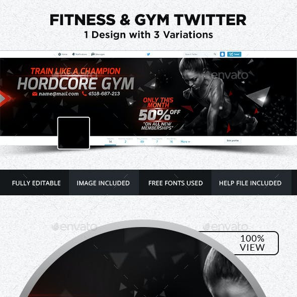 Fitness and Gym Twitter Headers - 3 Variations