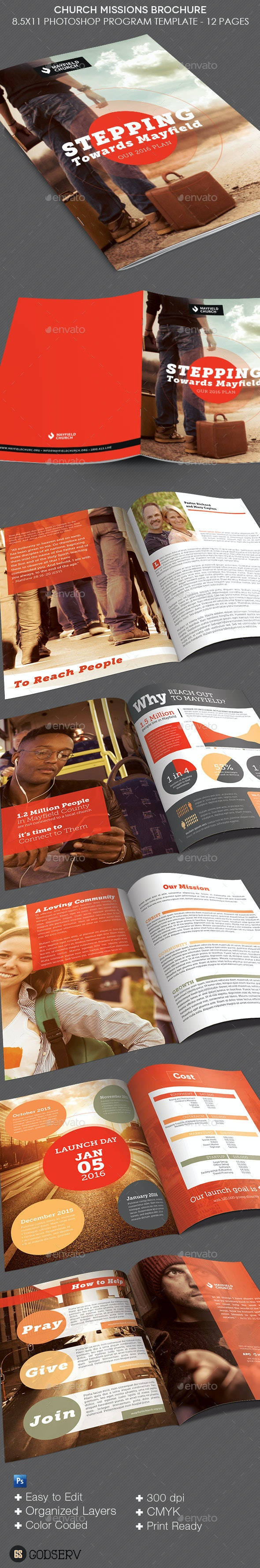 Church Missions Brochure Template - Informational Brochures