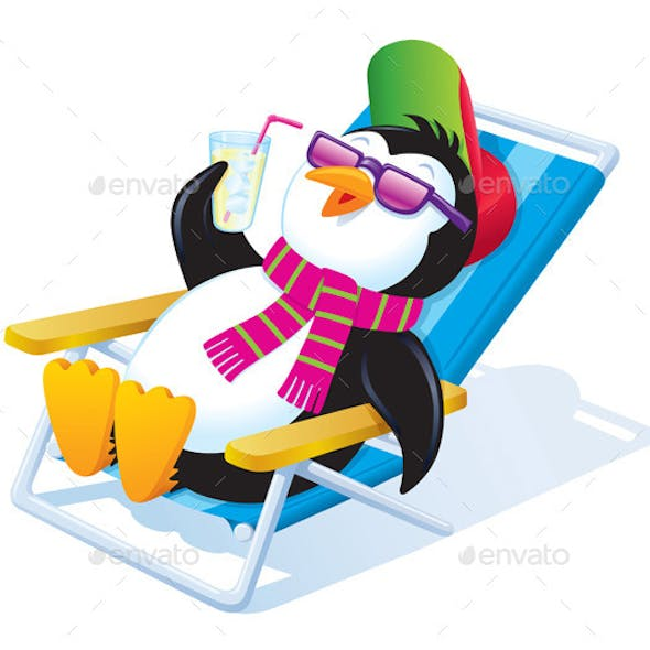 Penguin Relaxing in the Sun with a Drink