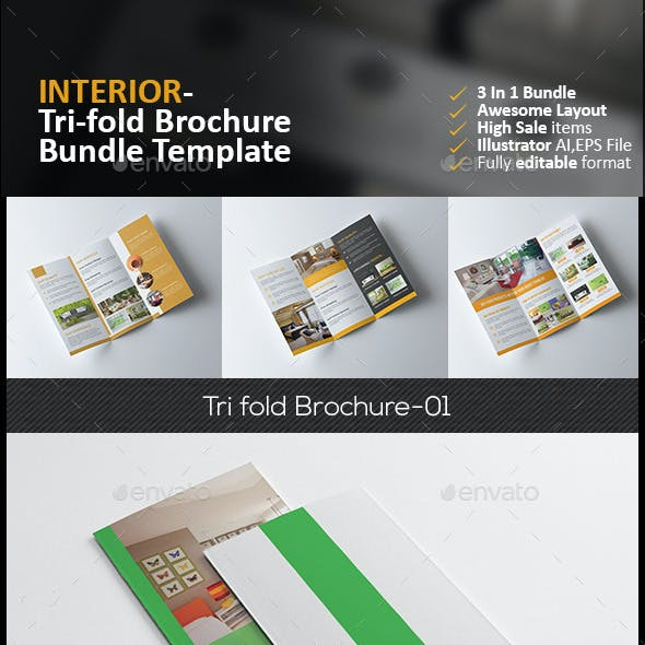 Interior Tri Fold Brochure Bundle 3 in 1