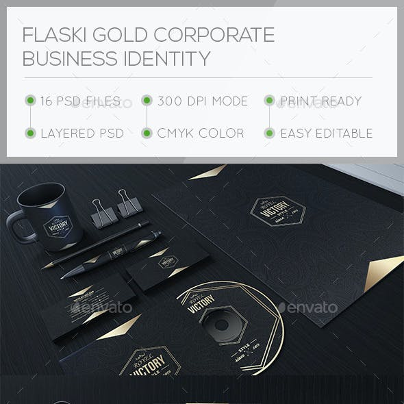 Flaski Gold Corporate Stationary Identity