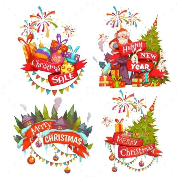 Merry Christmas Banner Set with Santa Claus