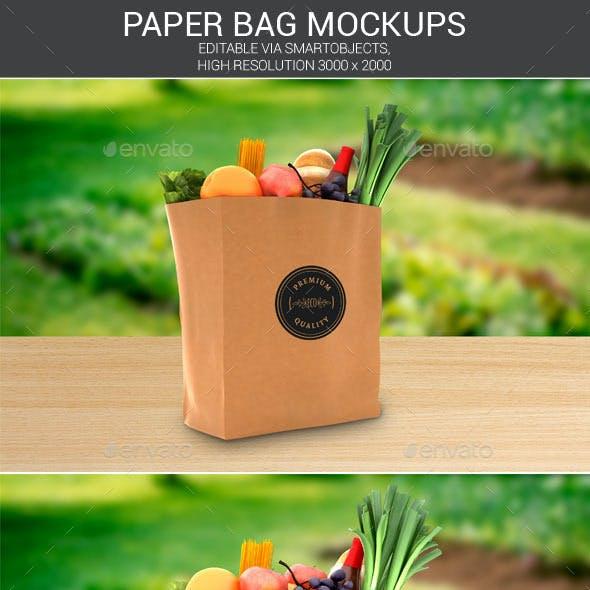 Grocery Paper Bag Logo Mockups