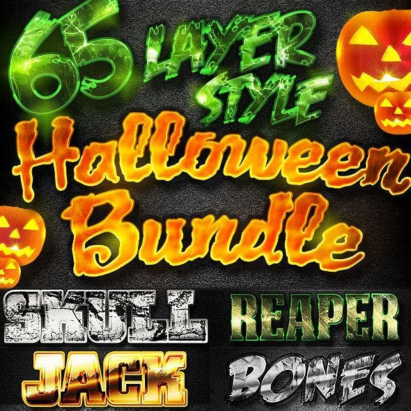 65 Layer Style Halloweeen Mega Bundle