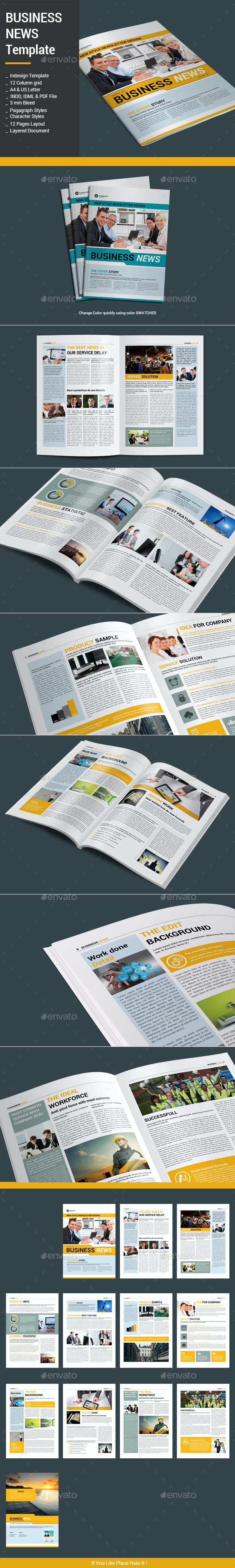 Business News Template - Newsletters Print Templates