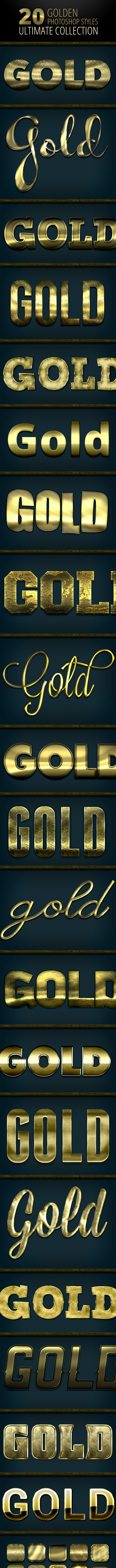 20 Gold Styles - Ultimate Collection - Text Effects Styles