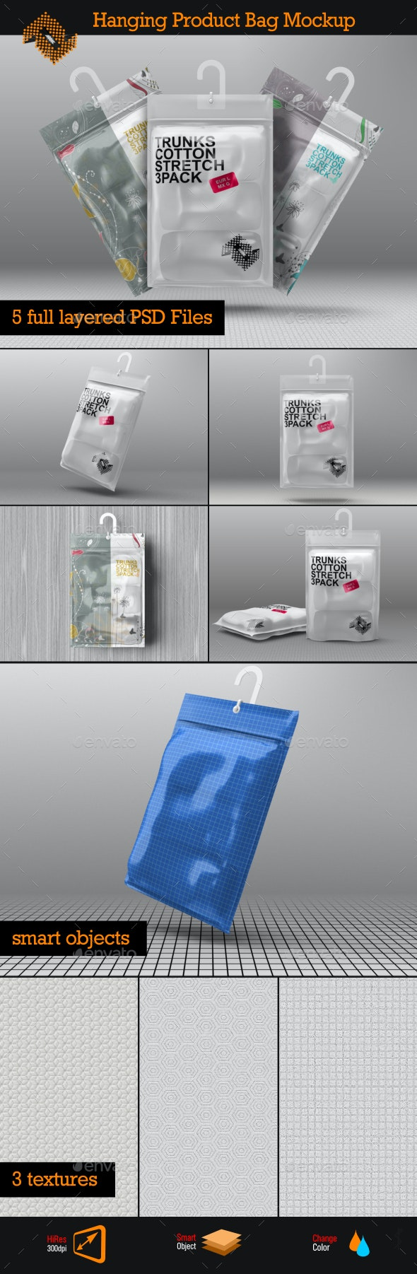 Hanging Storage Product Bag / Pouch Mockup - Packaging Product Mock-Ups