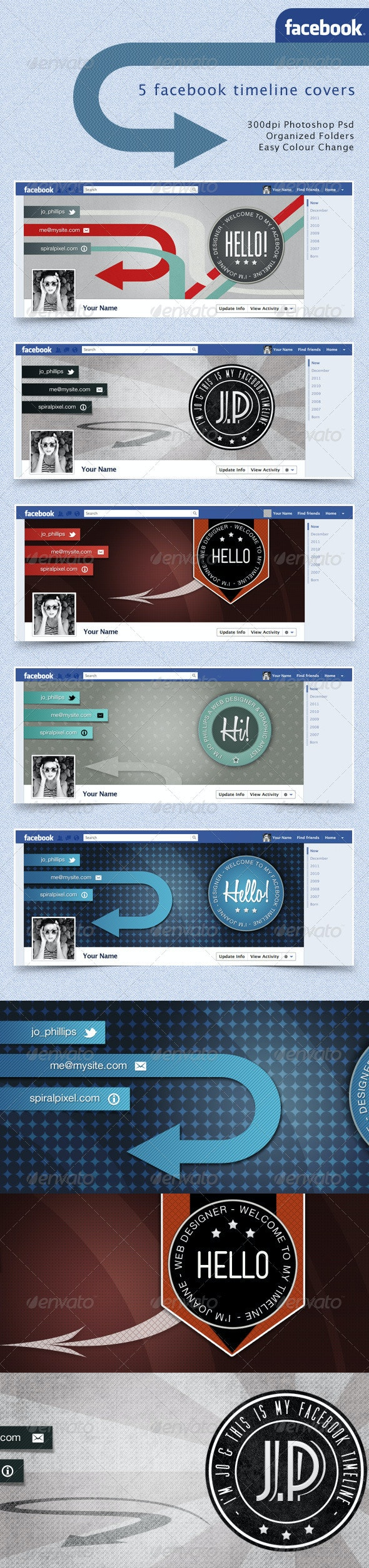 Facebook Timeline Covers - Retro Badges - Facebook Timeline Covers Social Media