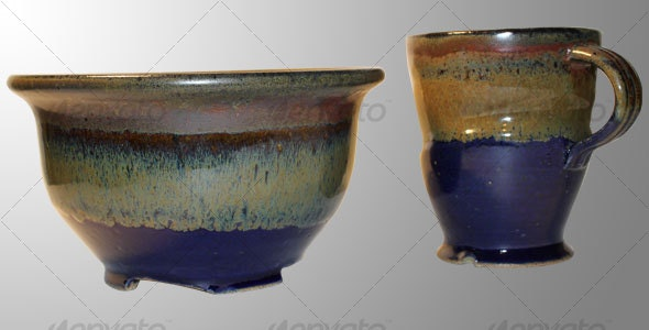 Ceramic Bowl and Mug Set - Home & Office Isolated Objects