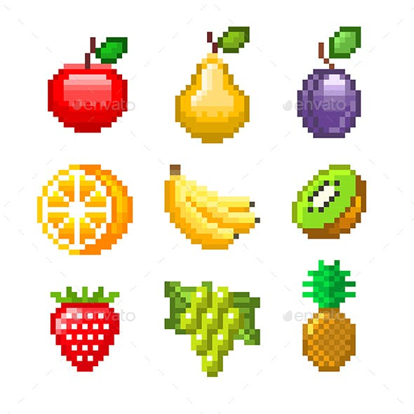 Pixel Fruits for Games Icons Vector Set