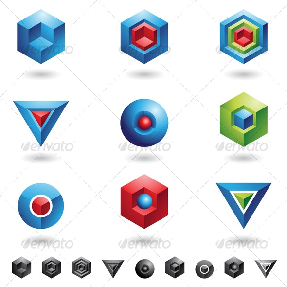 3d cubes and triangles - Abstract Icons